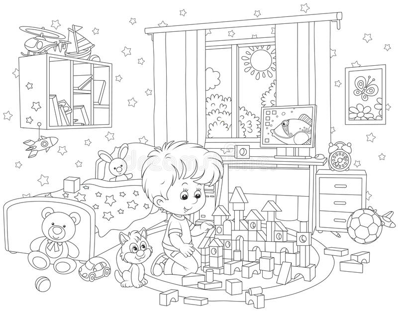 Little boy playing with bricks. Black and white vector illustration of a child constructing a toy house with bricks in his room stock illustration