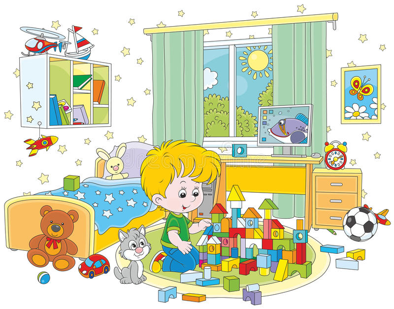 Little boy playing with bricks. Vector illustration of a child constructing a toy house with colored bricks in his room royalty free illustration