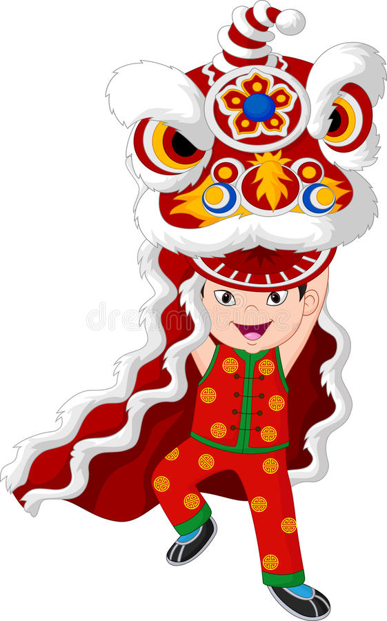 Free Little Boy Playing Chinese Lion Dancing Stock Photography - 85657222