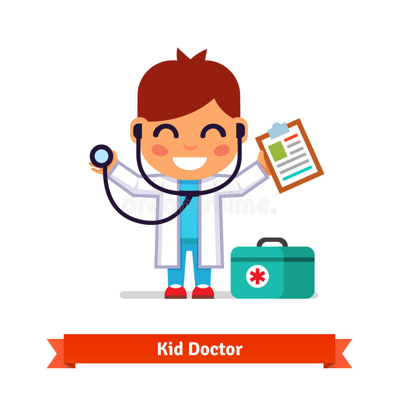 Little boy playing doctor with a stethoscope. Little smiling boy playing doctor with a stethoscope and paper clip. Flat style illustration isolated on white vector illustration