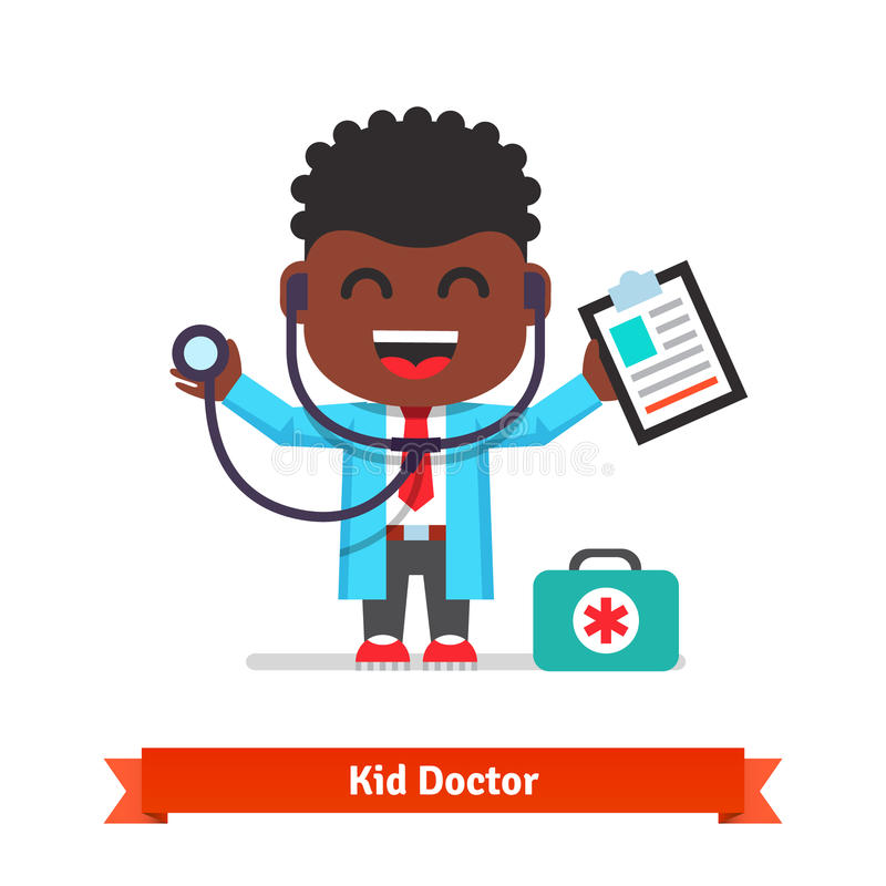 Little boy playing doctor with a stethoscope. Little smiling boy playing doctor with a stethoscope and paper clip. Flat style illustration isolated on white stock illustration