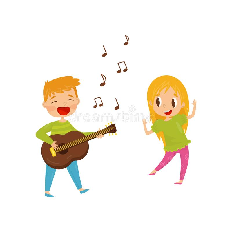 Little boy playing guitar and singing, girl dancing. Cheerful kids having fun together. Flat vector design. Little boy playing guitar and singing, girl dancing vector illustration