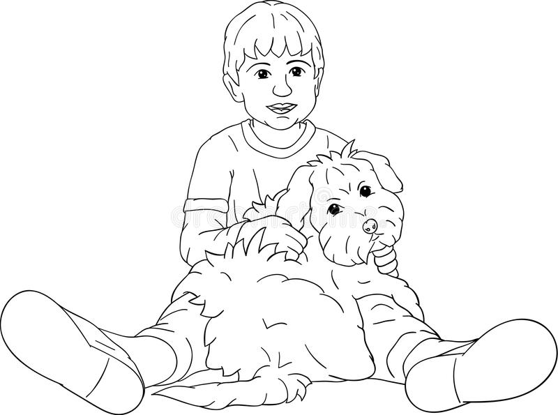 Little boy playing with his puppy stock illustration