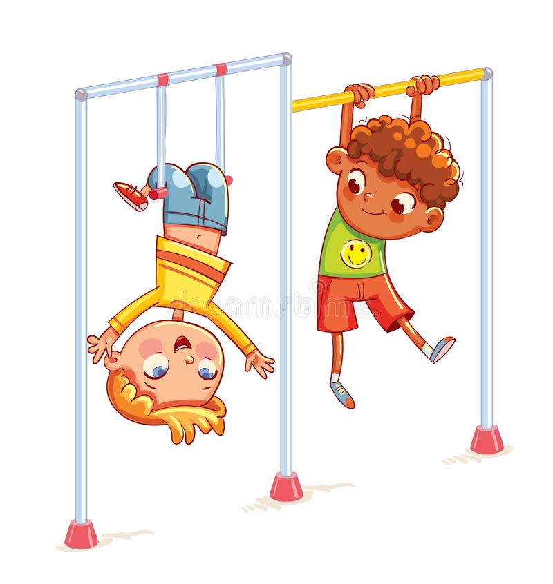 Little boy playing on the horizontal bar. Kids train on horizontal bars. Little boy playing on the horizontal bar. Playground. Place for games. sport, fitness vector illustration