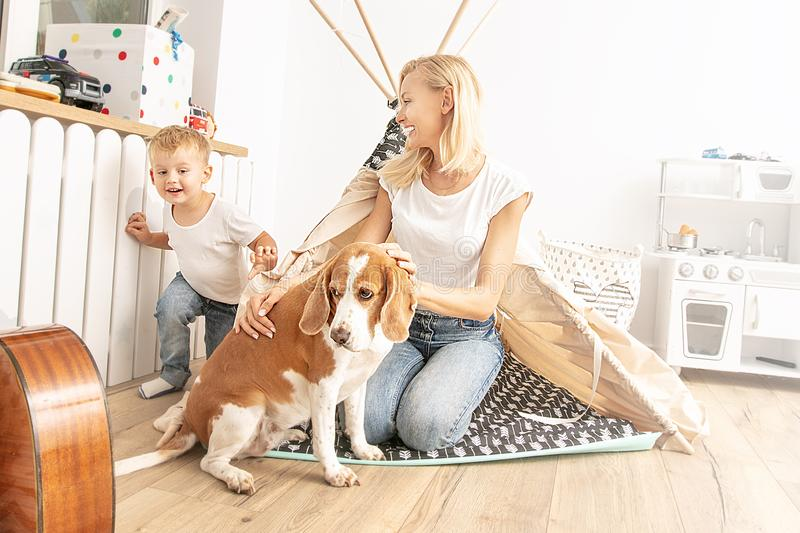 Little boy playing with mom and dog royalty free stock photos