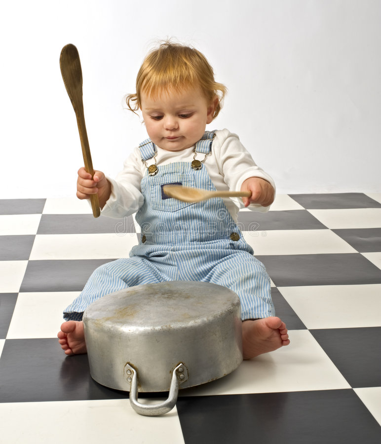 Chef Messy: Little Boy Playing With Pots Stock Image