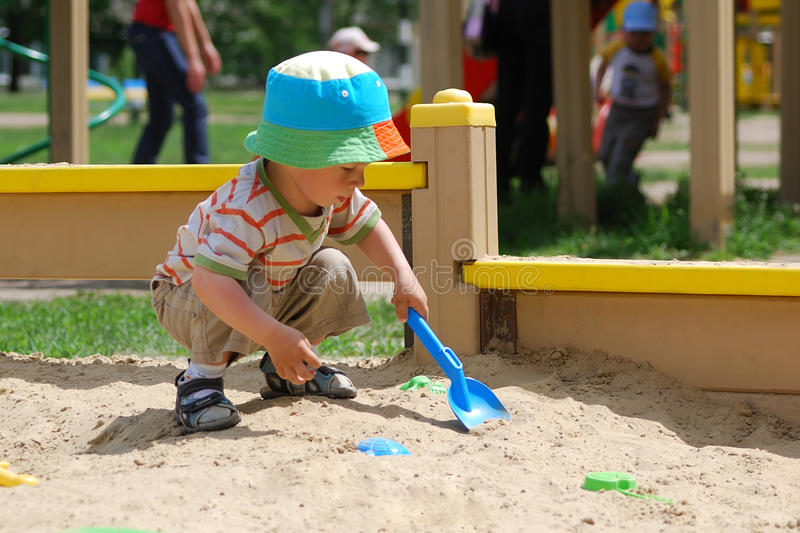 Download Little Boy Playing In Sandbox Stock Image - Image: 11953055