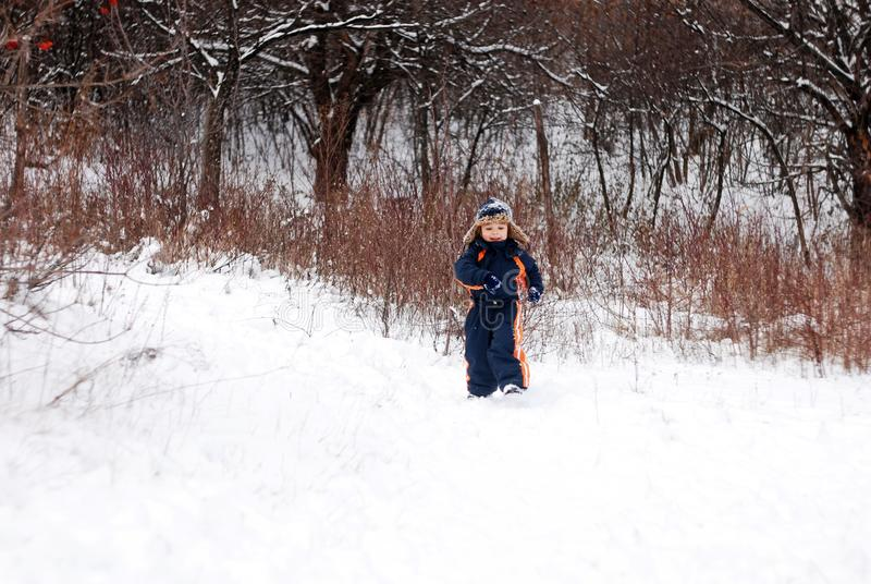 Little Boy Playing In The Snow royalty free stock photos