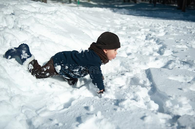 Little boy playing in the snow in winter royalty free stock photos