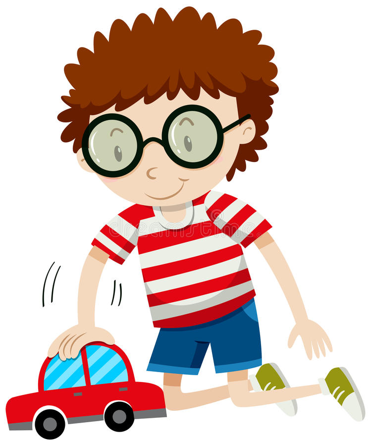 Little boy playing with toy car. Illustration royalty free illustration