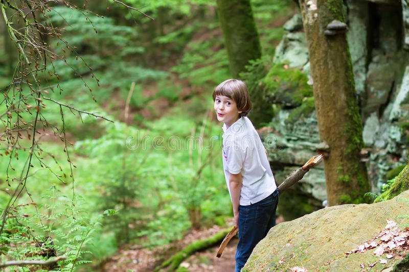 Little boy playing in the woods royalty free stock photos