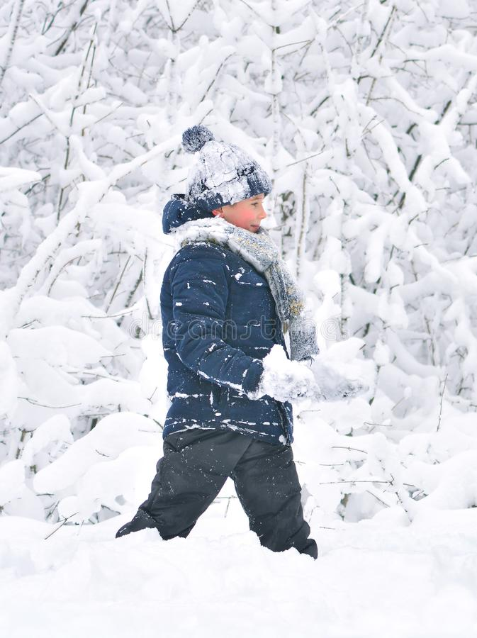 Little boy plays in snow royalty free stock image