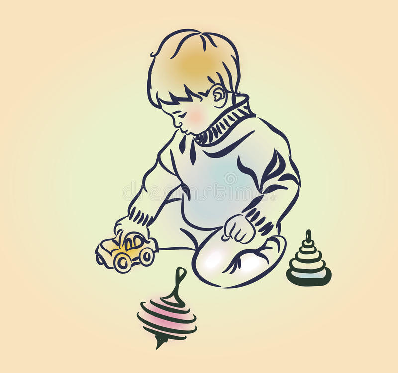 Little boy plays with toys royalty free illustration