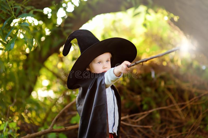 Little boy in pointed hat and black cloak playing with magic wand outdoors. Little wizard royalty free stock image