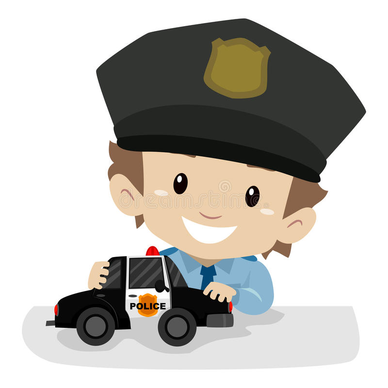 Little Boy portant un uniforme de police tout en jouant la voiture de police illustration stock