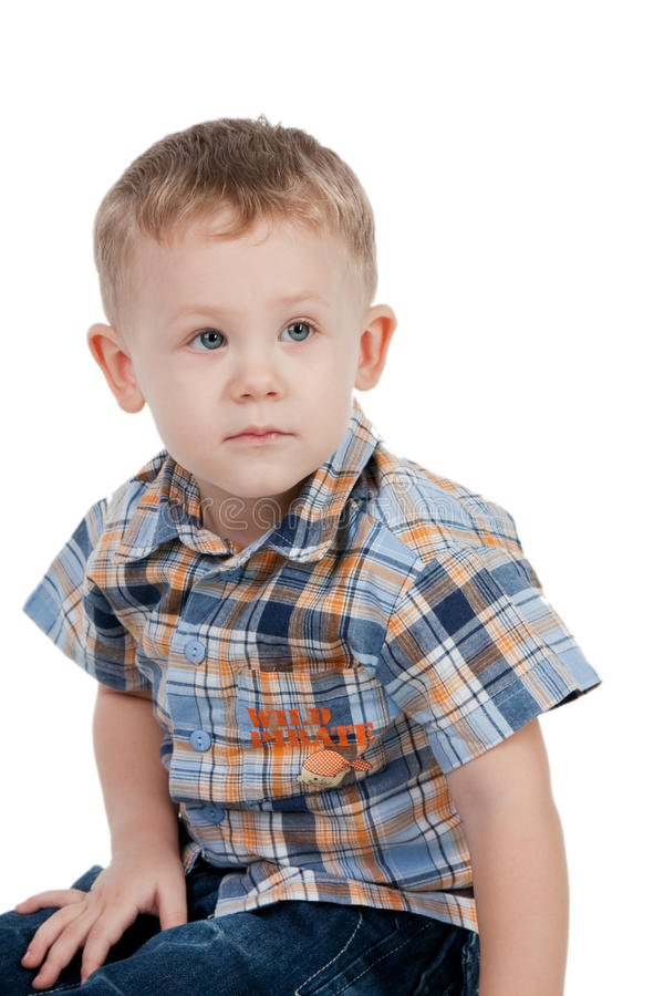 Download Little boy portrait stock photo. Image of sweet, checkered - 13486320