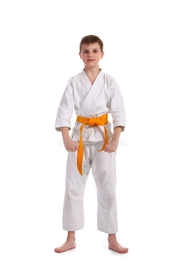Little boy practice karate royalty free stock photos