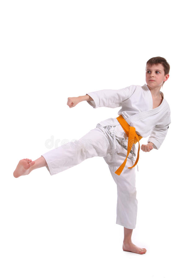 Little Boy Practice Karate Royalty Free Stock Images