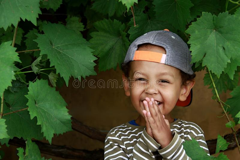 Little boy praying to God with hands held together stock photo stock photos