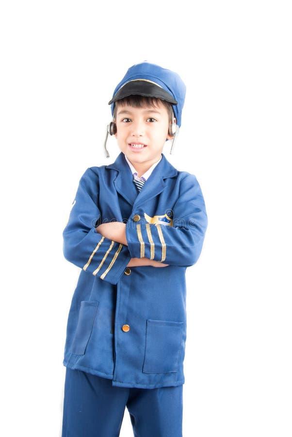 Little boy pretend as a pilot royalty free stock photo