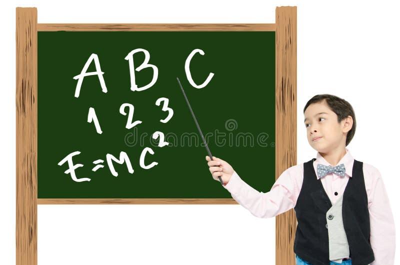 Little boy pretend as professional teacher for Education royalty free stock photos