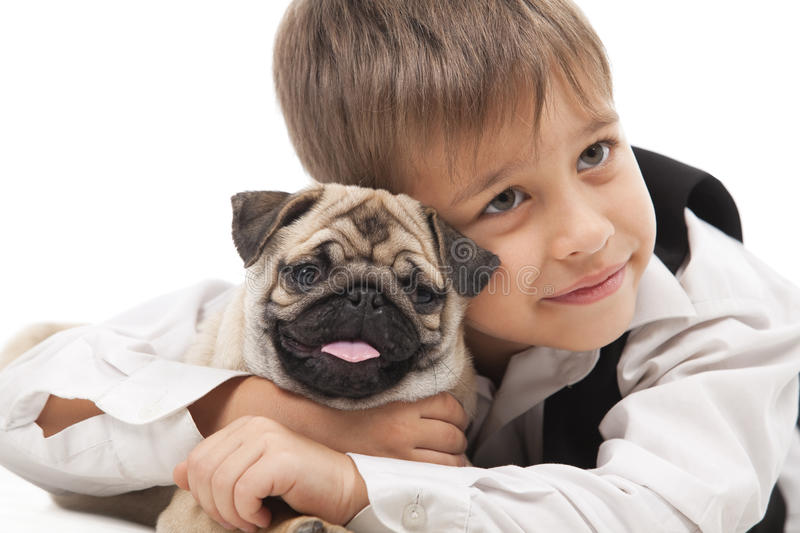 Download Little boy and the Pug-dog stock image. Image of playful - 18222239