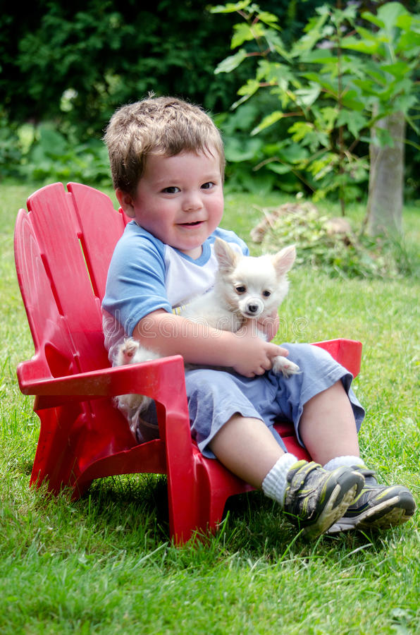 Little boy and puppy royalty free stock image