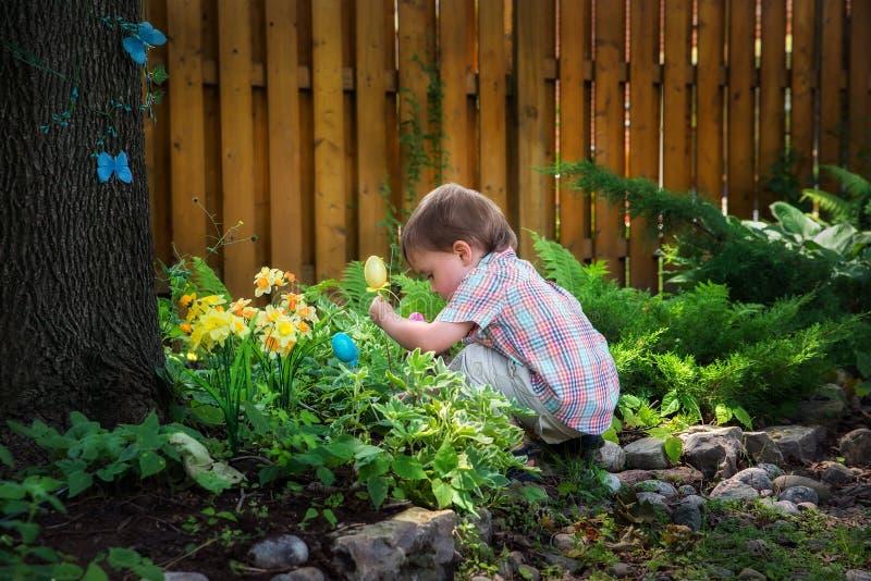 Little Boy que agacha-se abaixo de procurar ovos da páscoa imagem de stock royalty free