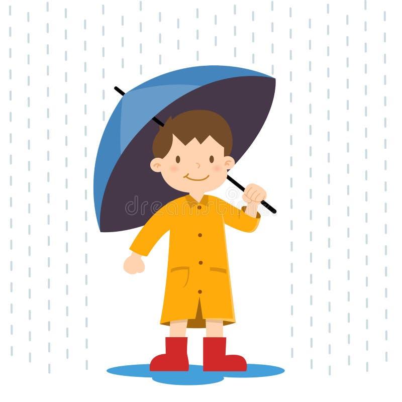 Little Boy que guarda o guarda-chuva na chuva ilustração do vetor