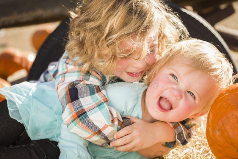 Little Boy que juega con su hermana del bebé en el remiendo de la calabaza fotografía de archivo