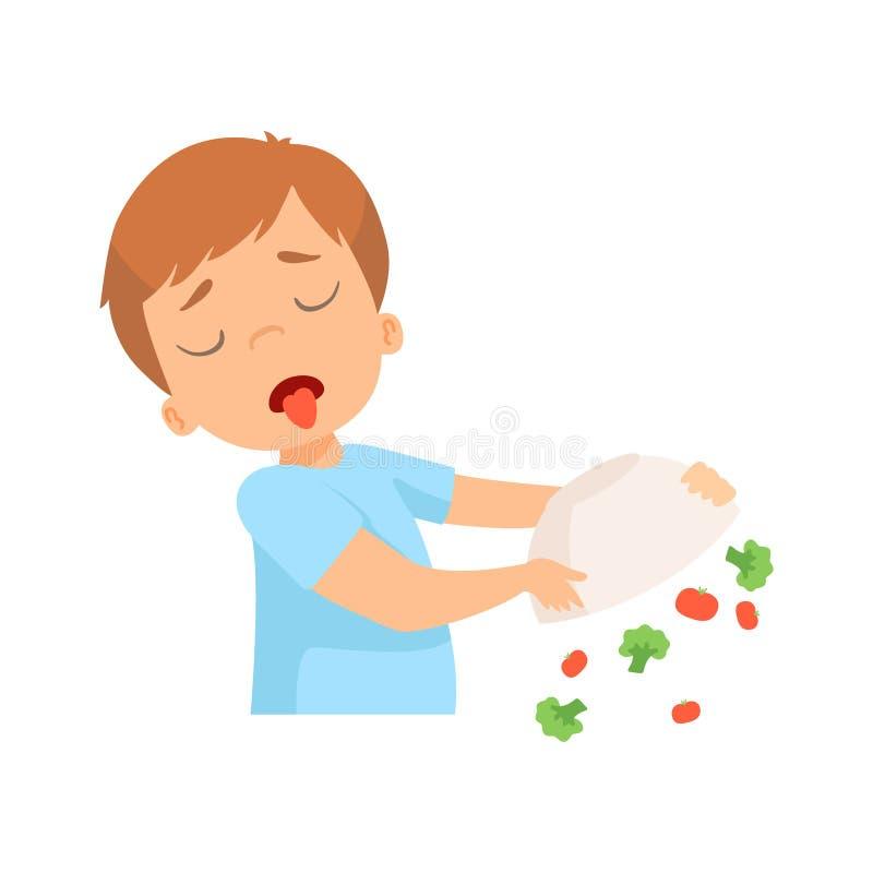 Little Boy que recusa comer vegetais, criança faz não como a ilustração saudável do vetor do alimento ilustração do vetor