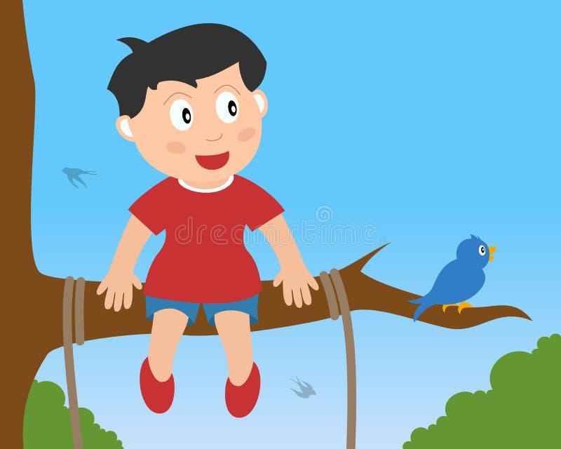 Little Boy que se sienta en una ramificación ilustración del vector