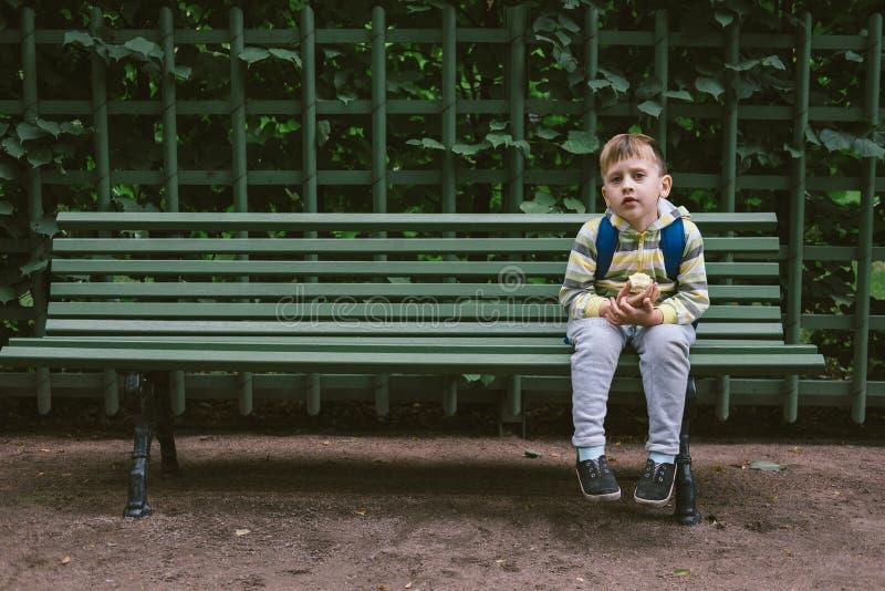 Little Boy que senta-se com Apple e que espera no banco rústico da colagem imagem de stock