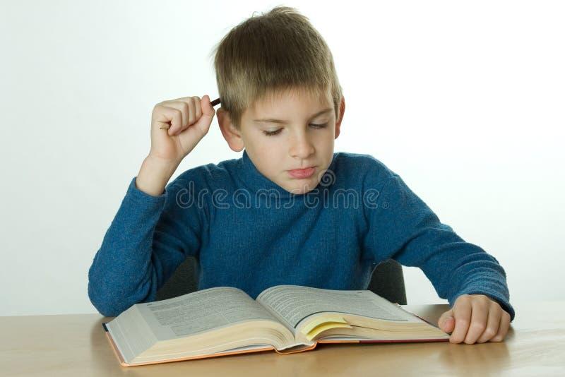 Little Boy Read Book Stock Image