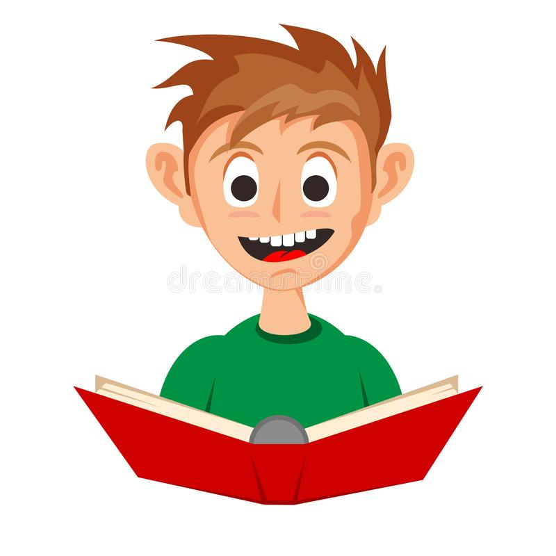 Little Boy Reading A Red Book. A little cute boy reading a red book with happy face. He like to read and study educational books. stock illustration