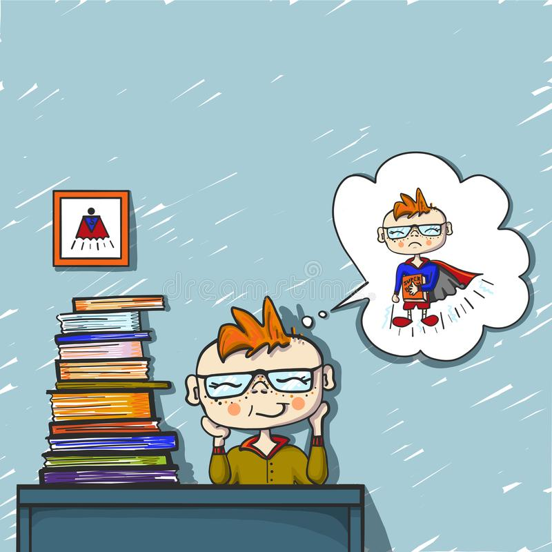 Cute boy red hair dreams and smile behind a pile of books, coloured drawing hand paint, little dreamer, superhero royalty free stock image