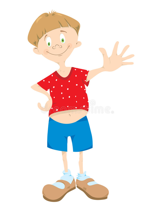 Little_boy_in_red_t-shirt illustrazione vettoriale