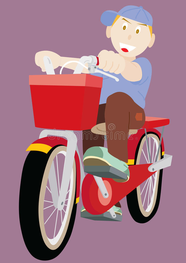 Little Boy Rides Bicycle royalty free illustration