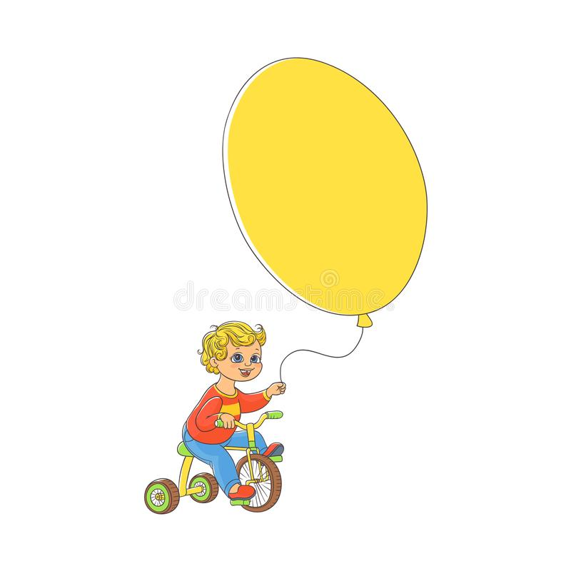 Little boy riding bicycle with big balloon in hand royalty free illustration