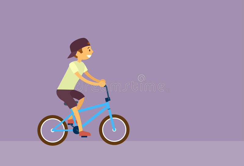 Little Boy Riding Bicycle Flat Vector stock illustration