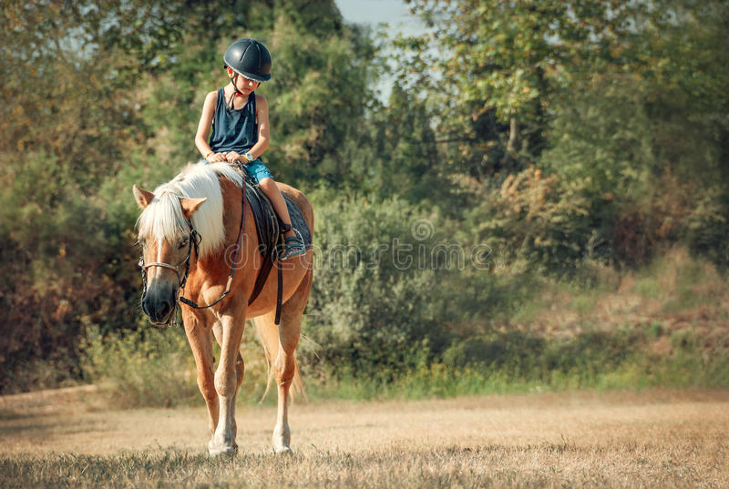 Little boy riding the horse stock images