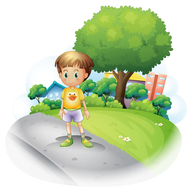 Download A Little Boy At The Road Across The High Buildings Stock Vector - Image: 32941662