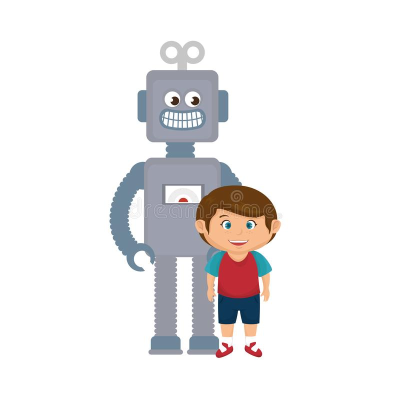 Little boy with robot toy royalty free illustration