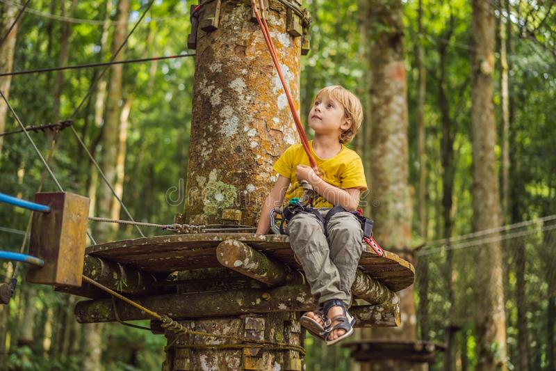Little boy in a rope park. Active physical recreation of the child in the fresh air in the park. Training for children royalty free stock photography