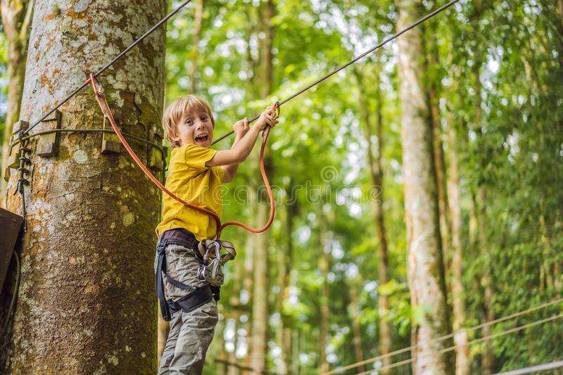 Little boy in a rope park. Active physical recreation of the child in the fresh air in the park. Training for children royalty free stock photo