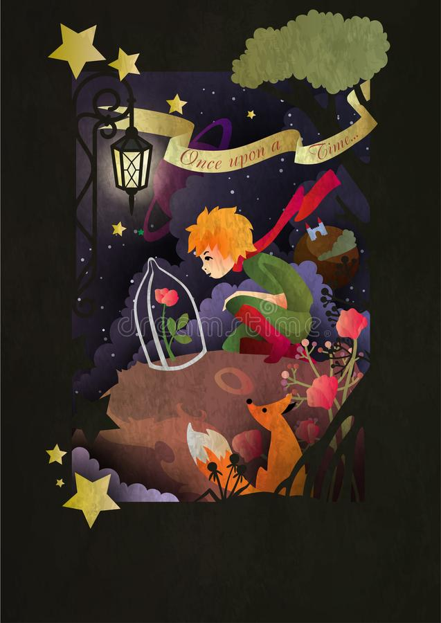 Little boy sitting in front of night sky royalty free illustration