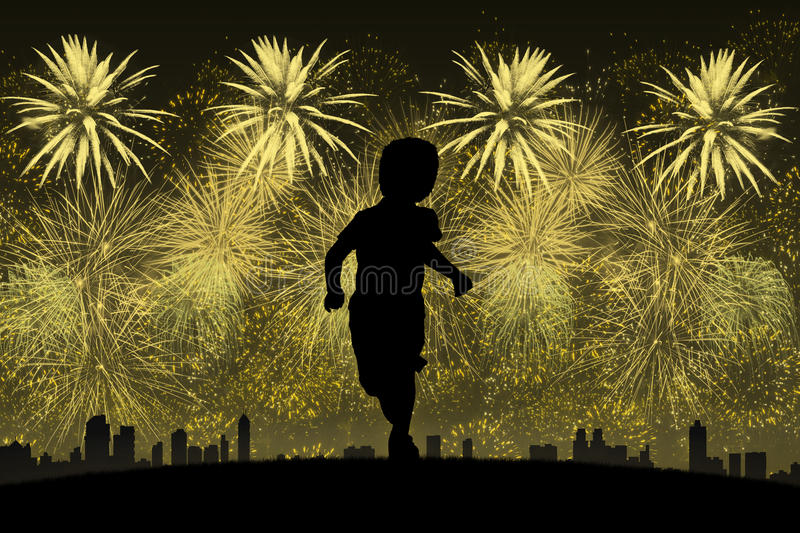 Little boy running towards golden fireworks. Silhouette of a little boy running on a top of a hill towards a big city with lots of golden fireworks above it vector illustration
