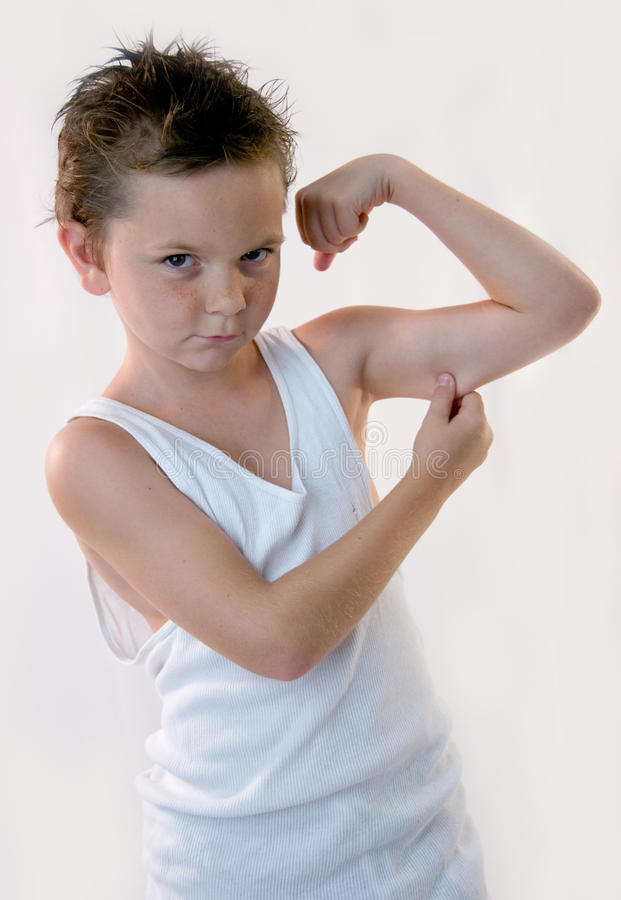 Little Boy's Muscles royalty free stock image