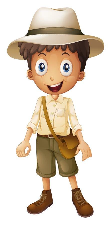 Little boy in safari outfit. Illustration royalty free illustration