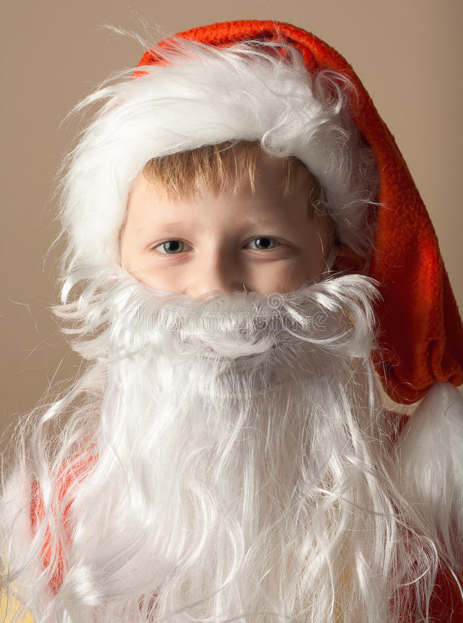 Download Little Boy In Santa Claus Suit With Beard Stock Image - Image: 17391981